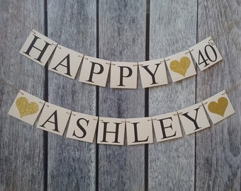 HAPPY 40th signs, happy birthday banner, 40th birthday banner, birthday signs, custom birthday banner, happy birthday signs, birthday decor