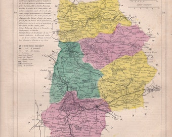 Detailed map of the Department of SEINE and MARNE. 1880 colors. Beautiful details. France.