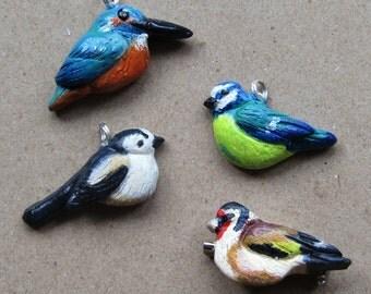 Spring bird designs made as charm / brooch Polymer clay