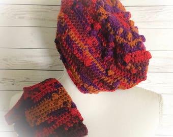 Wool hat,Tie Dye Hat,Winter Hats,Fingerless Gloves,Popcorn Beanie,Crochet hats,Bobble Hat,Gifts for her,Gifts for Teens,Boho hat,Ski hats,