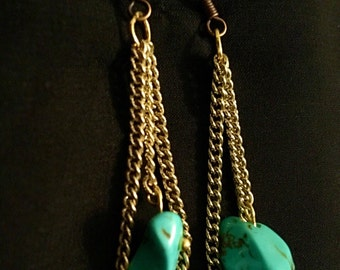 SHIPS FREE, Gold alloy dangling drop earrings w/ synthetic turquoise gemstone, Native American inspired