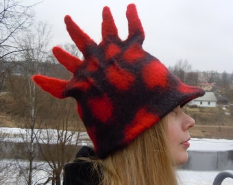 Dragon hat Black and red Warm felted hat Hand made felt hat Felted wool hat