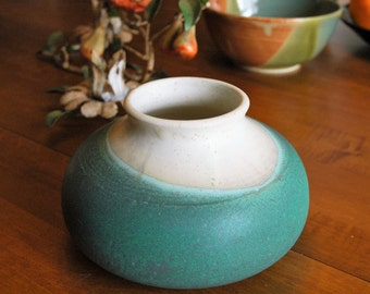 Ceramic White and Aqua Vase // Short and Round Vase