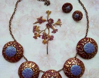 Statement necklace, Jewelry Set, Polymer Clay necklace, Woman statement necklace, elegance necklace, Jewelry clay, Original necklace, gift