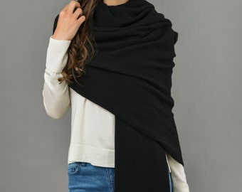 Cashmere Wrap Scarf Shawl Super Soft 2ply Knitted Oversize Luxury BLACK - Made in Italy