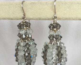 Sterling Silver Aquamarine & Swarovski Crystal Balloon Earrings