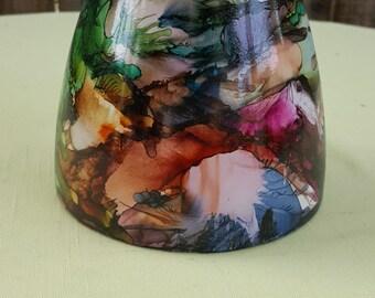Alcohol ink vase, rainbow colors