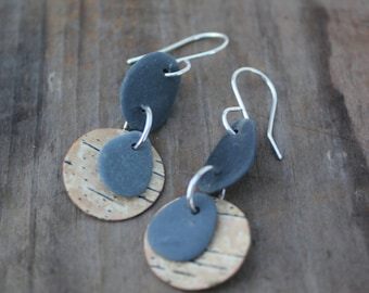Maine Lake Stone and Birch Bark Earrings FREE SHIPPING