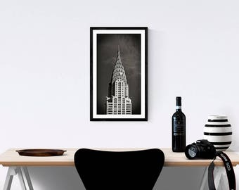 NYC photo, Chrysler Building, Art Deco Architecture, Black and White Photography, New York Architecture, New York City Buildings