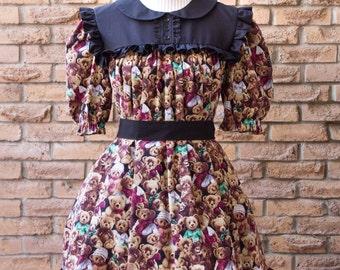 Lolita Style Teddy Bear Smock Dress & Bloomers Set, XS to 3X