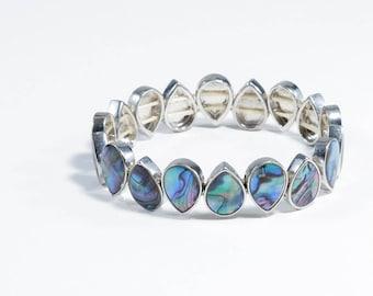 Abalone Shell Tear Drop Stretch Bracelet