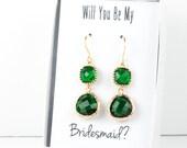 Long Emerald Gold Earrings, Gold Emerald Earrings, May Birthstone Gold Earrings, Bridesmaid Jewelry, Green Wedding Jewelry