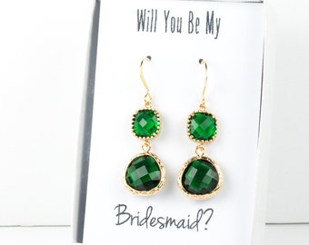 Long Emerald Gold Earrings, Gold Emerald Earrings, May Birthstone Gold Earrings, Bridesmaid Jewelry, Green Wedding Jewelry