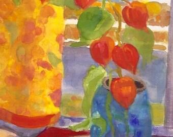 "Still life painting, original gouache watercolour, ""Chinese Lantern Bouquet"""
