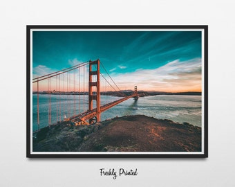 Golden Gate Bridge Photograph Print, Wall Art,Industrial Wall Decor,Landmark Photography,San Francisco California Art,Large Printable Poster