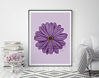 Flower Print, Flower Wall Art, Botanical Print, Floral Print, Living Room Wall Art, Kitchen Decor, Flower Art, Purple Flower, Flower Poster