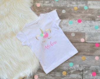 Unicorn shirt,Personalized Unicorn Shirt, Unicorn tee, Unicorn birthday, Girls first birthday outfit, Girls First Birthday, Girls Birthday