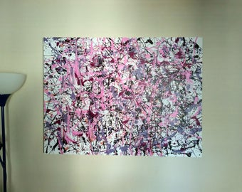 Pink Cotton Candy, Abstract Expressionism, Jackson Pollock Style, Drip Painting, Drip Artwork, Drip art