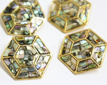 4 x amazing vintage genuine abalone shell hexagon shaped gold tone metal buttons shank buttons 30mm