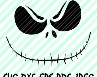 Jack Skellington Nightmare Face SVG DXF EPS Jpg Files Vector Cuttable Design Cricut Silhouette Cameo Studio Digital Cut Print Mags TShirt