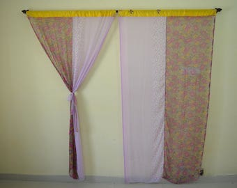 Indian Partition Curtain Scarves Curtain Bohemian Gypsy Curtain Hippy  Curtain Boho Curtain Recycled Fabric White Pink
