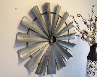 Metal windmill wall decor