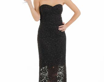 Strapless black lace dress // Little black dress // Sweetheart corset bodice // LBD // Midi dress
