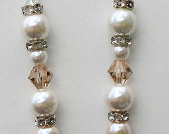 Long Crystal and Pearl Bridal Earrings