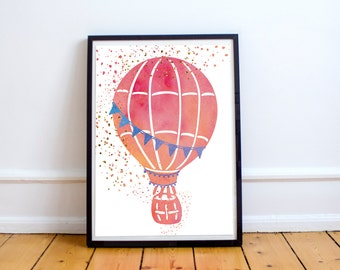 Pink Watercolor Hot Air Balloon / Nursery Digital Art Print / 3 sizes included: 11x14, 8x10 and 5x7 / Home decor, kids room wall art