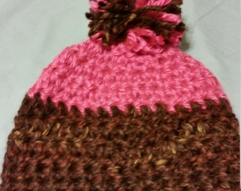 Womens or Teens Bright Pink and Brown Crochet Beanie with Pom Pom