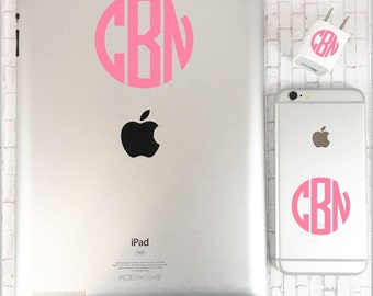 Monogram Decal iPhone Set - Personalized iPhone Decal - iPad Sticker - Custom iPhone iPad and Charger Decal - Vinyl iPad iPhone and Charger
