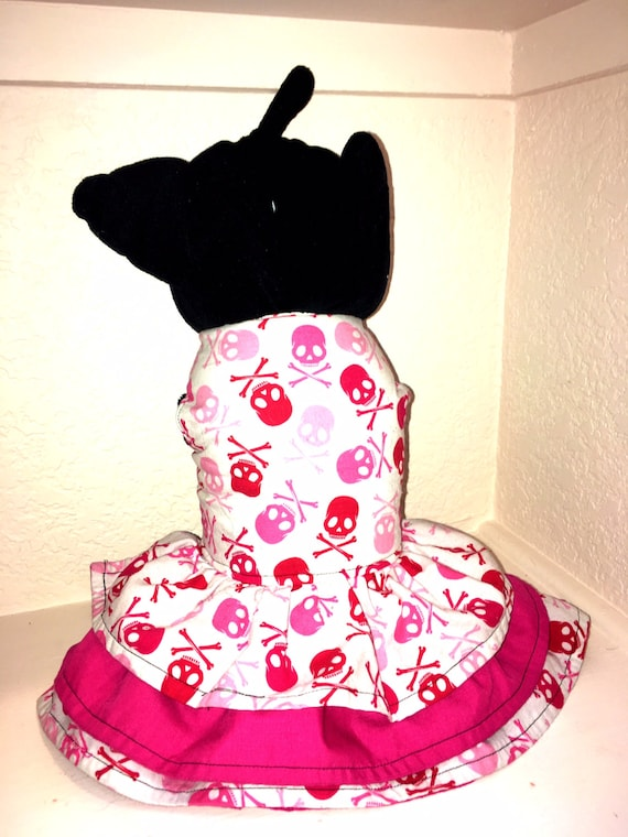 Reversible small dog skull & crossbones CUSTOM SIZED ruffle dress with harness option sturdy cotton fully lined goth princess tea party