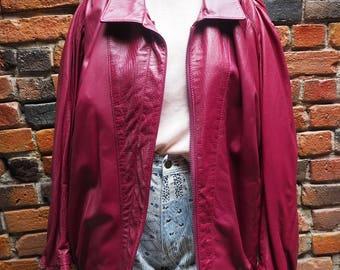 Women's 90s Pink Oversized Leather Jacket Size Large