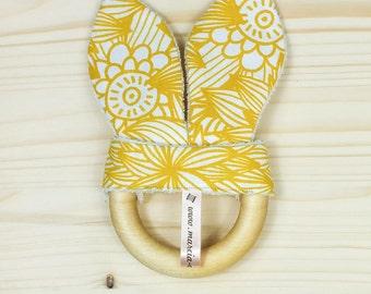 Mustard flower wooden teething ring