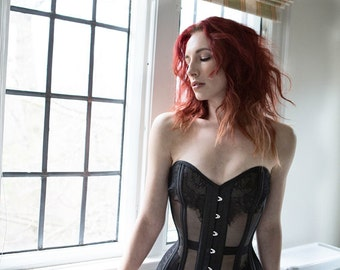 Mesh Corset With Chantilly Lace & Silk