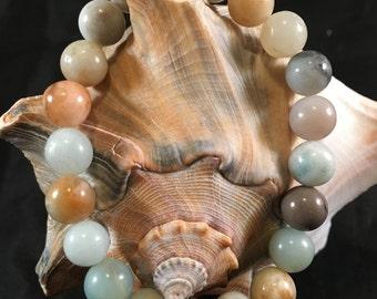 Genuine 8 mm Amazonite Crystal Elastic Stretch Bead Bracelet