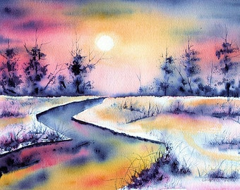 Snowy Field and Creek at Sunset, Fine Art Print of Watercolor Painting by Laurel Fern, 8x10, Matted for an 11x14 frame.
