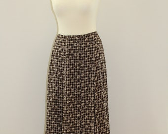 Floral Patterned Check Skirt (Brown/White)