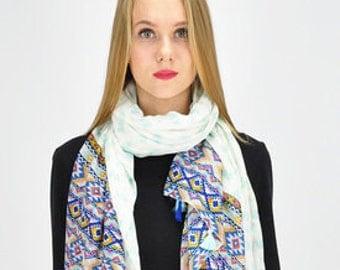 Elephant Green Scarf / Women Gift Ideas / Spring Summer Scarf / Womens Scarves / Fashion Accessories