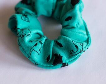 Chouchou elastic, dinosaur, green, pattern, hair, scrunchie, gift, girl