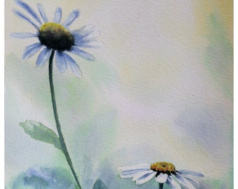 original watercolor, painting of flowers, floral art, original painting, hand made
