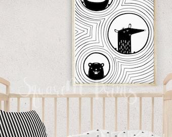 Woodland Animals, Baby Decor Nursery Art, Black and White Nursery Decor, Black Stripes Print, Monochrome Animal Illustration, Digital Print