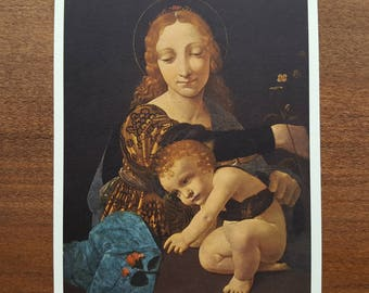 Madonna Col Bambino Unused Postcard Giovanni Boltraffio Fine Art Painting Vintage 1970s Jesus Virgin Mary Mother and Child Religious Card