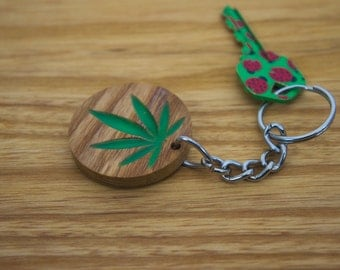 Weed Key Chain, Glow in the Dark, Natural Wood,Cute, Stylish, Present for Him, Present for Her, Unique , Made it the USA