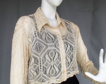 90s Lace Crop Top, Cream Colored Long Sleeved Collared Button Up Lace Shirt, 1990s Dawn Joy Fashions Sz L/XL
