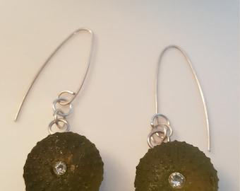 Sea urchins silver green resin earrings