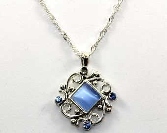 Vintage Blue Chrysoberyl CZ Scroll Pendant Necklace 925 Sterling Silver NC 514