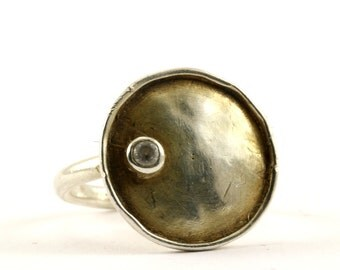 Vintage Modern Round Disk CZ Inlay Ring 925 Sterling Silver RG 1458