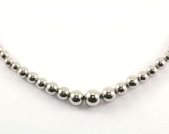Vintage Graduating Beads Beaded Chain Necklace Sterling Silver NC 824