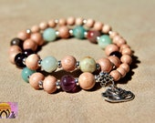 Amazonite Amethyst Rosewood Wrist Mala-Bracelet-Beaded Bracelet-Silver Lotus Flower Charm-Yoga Jewellery-Boho-Handmade-Energised
